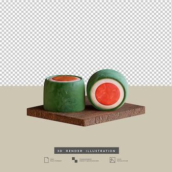 Illustration 3d de rouleau de sushi de cuisine japonaise de style argile