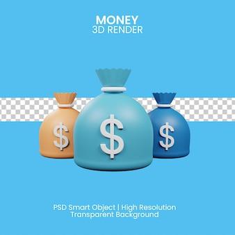 Illustration 3d de sac d'argent