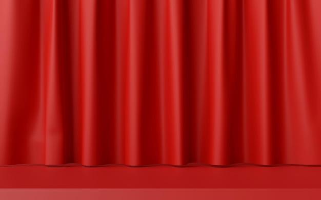 Illustration 3d d'une scène minimale avec rideau rouge pour la publicité du produit