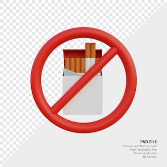 Illustration 3d d'un signe d'interdiction de fumer