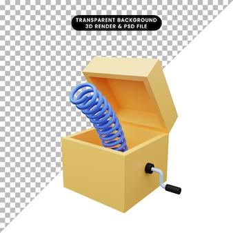 Illustration 3d d'une simple boîte surprise de farce d'icône