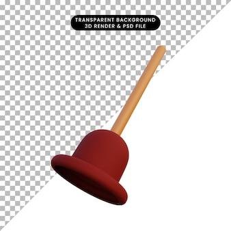 Illustration 3d simple objet cuvette de piston de toilette