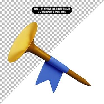 Illustration 3d d'une simple trompette instrumentale de musique d'objet simple