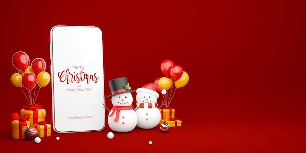 Illustration 3d de smartphone avec bonhomme de neige et cadeau de noël, joyeux noël
