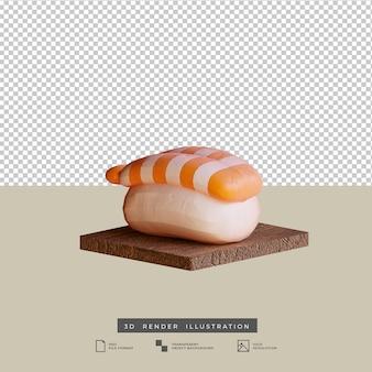 Illustration 3d de sushi de crevettes de cuisine japonaise de style argile