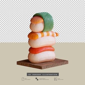 Illustration 3d de sushi de cuisine japonaise mignonne de style argile
