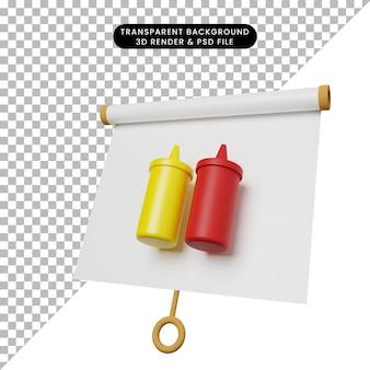 Illustration 3d d'un tableau de présentation d'objets simples, vue légèrement inclinée avec du ketchup en bouteille