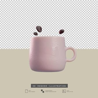 Illustration 3d de tasse à café de style argile