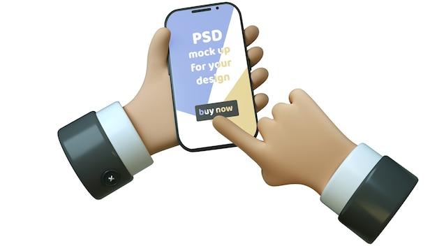 Illustration 3d de téléphone dans la main de style dessin animé isolé