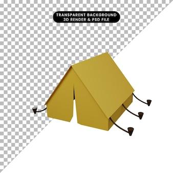 Illustration 3d D'une Tente D'objet Simple PSD Premium