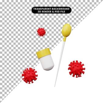 Illustration 3d test d'écouvillonnage d'antigène virus corona