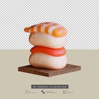 Illustration 3d de thon et de crevettes de sushi de cuisine japonaise de style d'argile