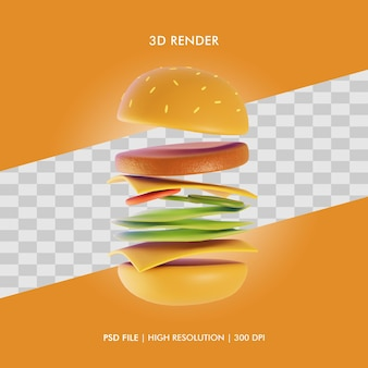 Illustration 3d, tomber, hamburger, nourriture