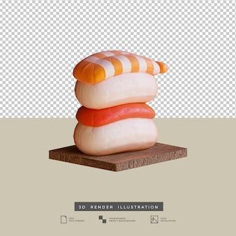 Illustration 3d de vue de côté de sushi de cuisine japonaise mignonne de style d'argile