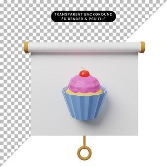 Illustration 3d de la vue de face du tableau de présentation d'objets simples avec cup cake