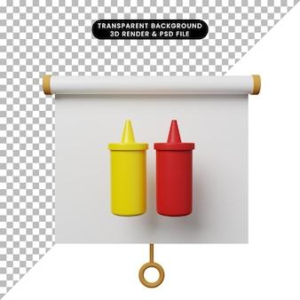 Illustration 3d de la vue de face du tableau de présentation d'objets simples avec du ketchup en bouteille