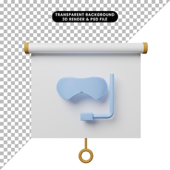 Illustration 3d de la vue de face du tableau de présentation d'objets simples avec des lunettes