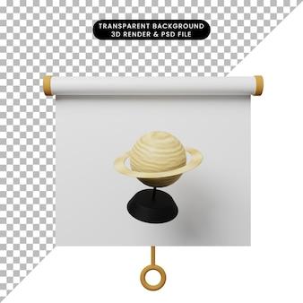 Illustration 3d de la vue de face du tableau de présentation d'objets simples avec saturne