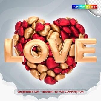 Illustration de l'amour de la saint-valentin dans le rendu 3d
