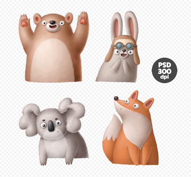Illustration d'animaux de dessin animé mignon isolée