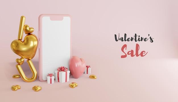 Illustration de bannière de vente saint valentin rendu 3d avec smartphone