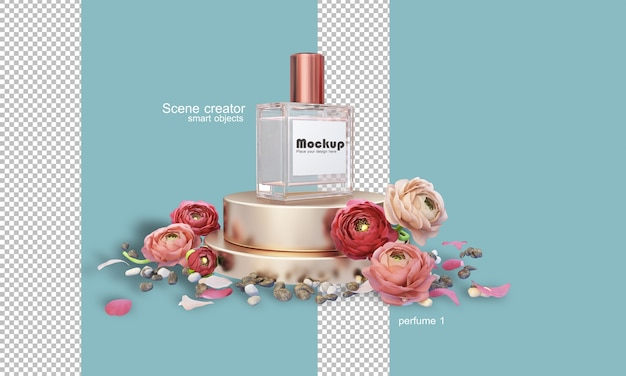 Illustration de bouteille de parfum 3d parmi les fleurs