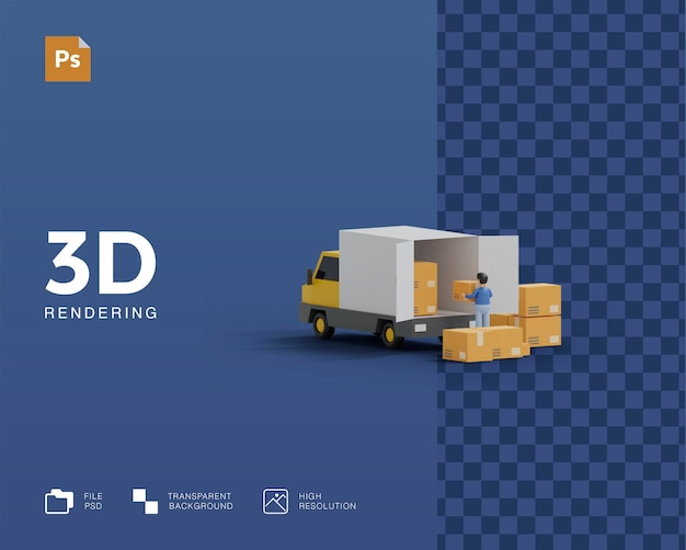 Illustration de camion de livraison 3d