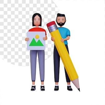 Illustration de concept de communauté de conception 3d