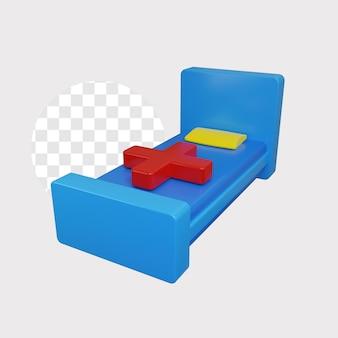 Illustration de concept de lit de patients 3d