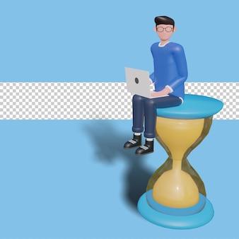 Illustration du personnage 3d concept de gestion du temps