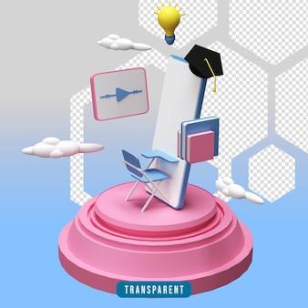 Illustration de l'éducation en ligne de rendu 3d