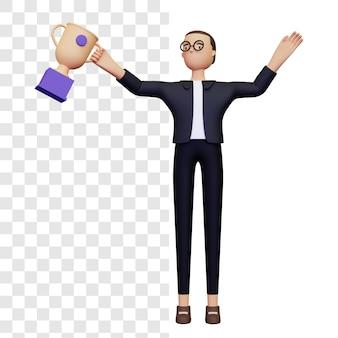 Illustration d'entrepreneur prospère en 3d