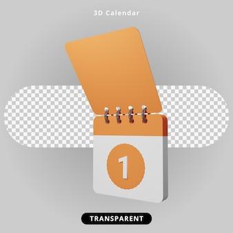 Illustration d'événement de calendrier de rendu 3d
