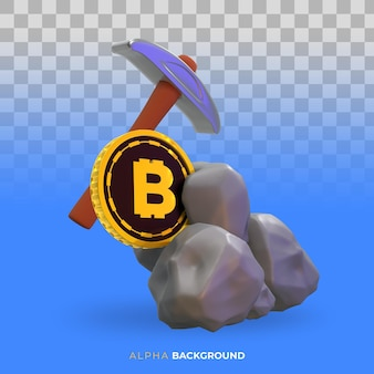 Illustration d'extraction de bitcoin de crypto-monnaie. illustration 3d