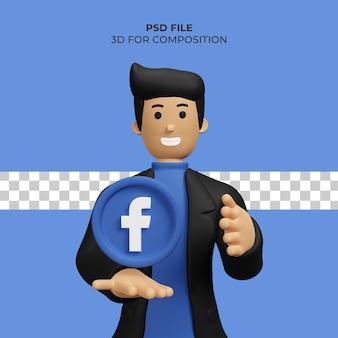 Illustration de l'homme 3d avec l'icône facebook psd premium