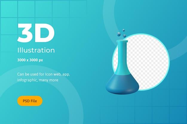 Illustration de l'icône 3d, soins de santé, bouteille de chimie, pour le web, l'application, l'infographie
