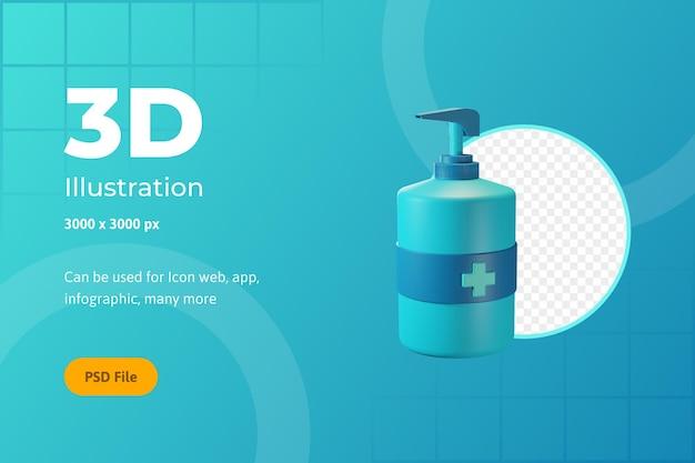 Illustration de l'icône 3d, soins de santé, désinfectant pour les mains, pour le web, l'application, l'infographie