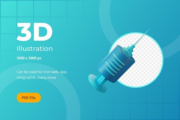 Illustration de l'icône 3d, soins de santé, seringue, pour le web, l'application, l'infographie
