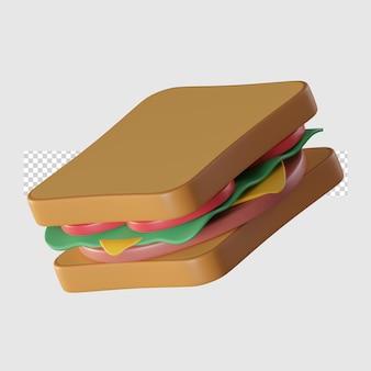 Illustration de l'icône de dessin animé sandwich 3d