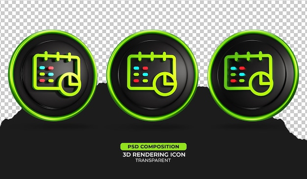 Illustration de l'icône du calendrier de rendu 3d