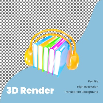 Illustration de l'icône du livre audio de rendu 3d pour la rentrée