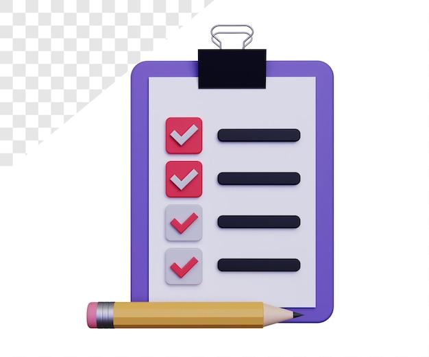 Illustration de la liste de contrôle 3d