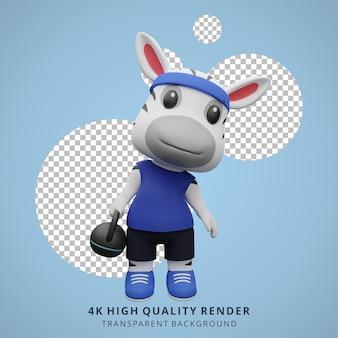 Illustration de mascotte de personnage 3d animal de gym fitness zèbre mignon