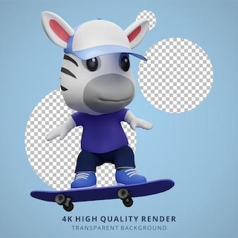 Illustration de mascotte de personnage 3d animal skateboarder zèbre mignon
