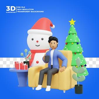 Illustration de personnage 3d célébrant noël psd premium