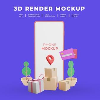 Illustration plate de smartphone de maquette de rendu 3d