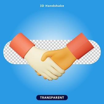 Illustration de poignée de main de rendu 3d