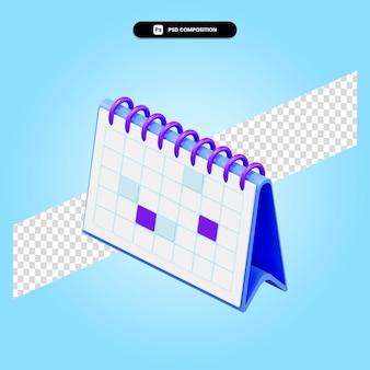 Illustration de rendu 3d calendrier isolé