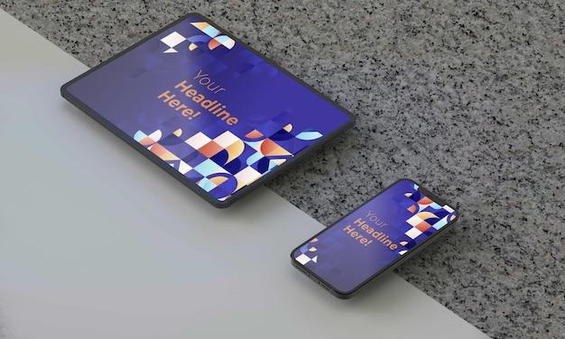 Illustration de rendu 3d générique iphone ipad maquette dans un design blanc high key psd