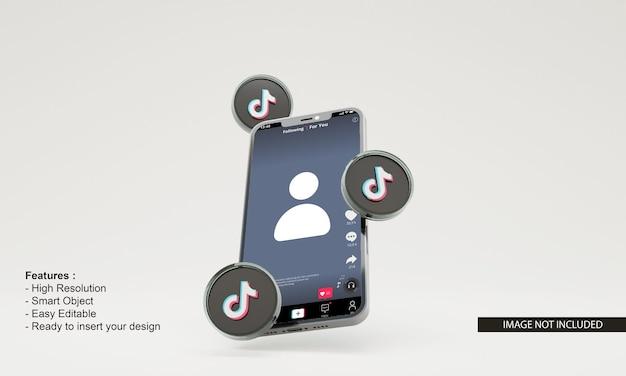 Illustration de rendu 3d icône tiktok maquette de téléphone mobile